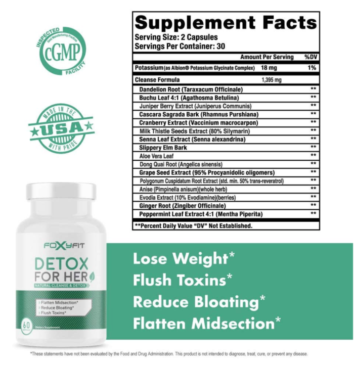 foxy fit detox nutritional facts