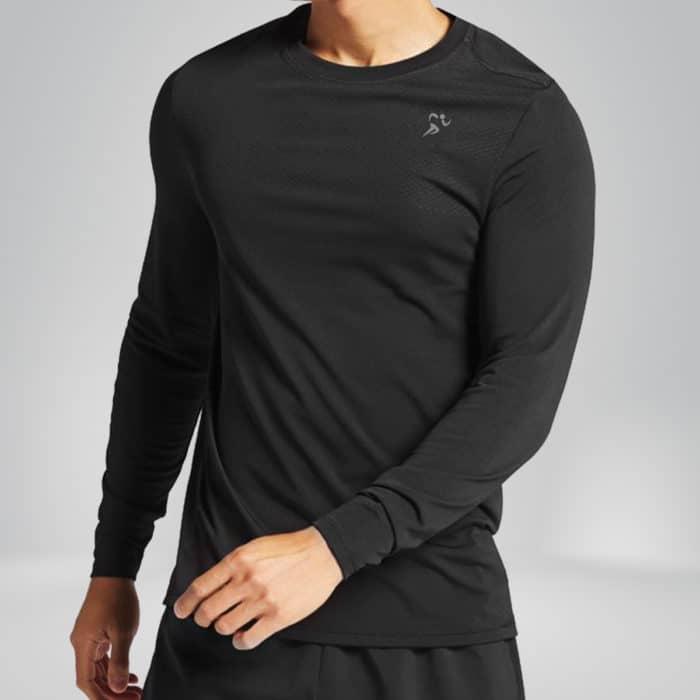 copper fabric long sleeve shirt model