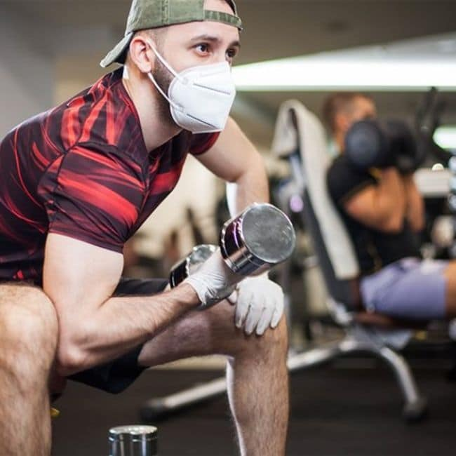 gym mask and gloves