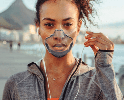 air purifying face mask article