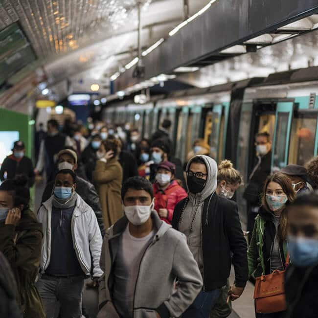 public transit face mask with fan