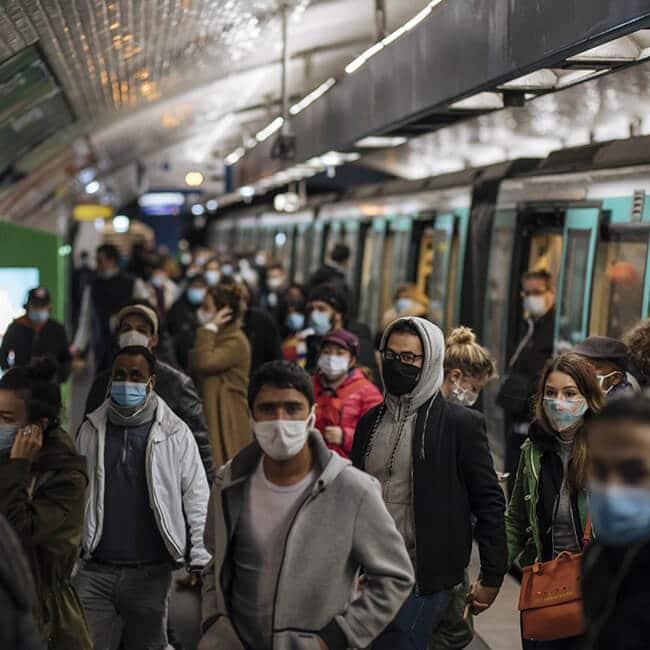 public transit face mask with fan