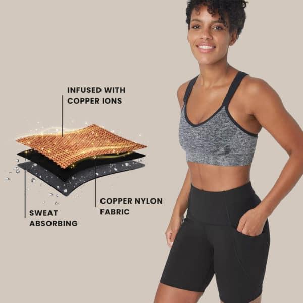 copper fabric workout shorts women