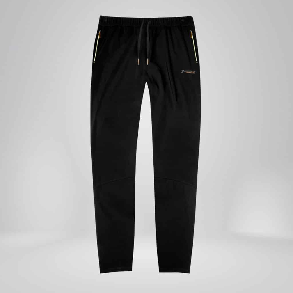 mens copper fabric jogger zippers black
