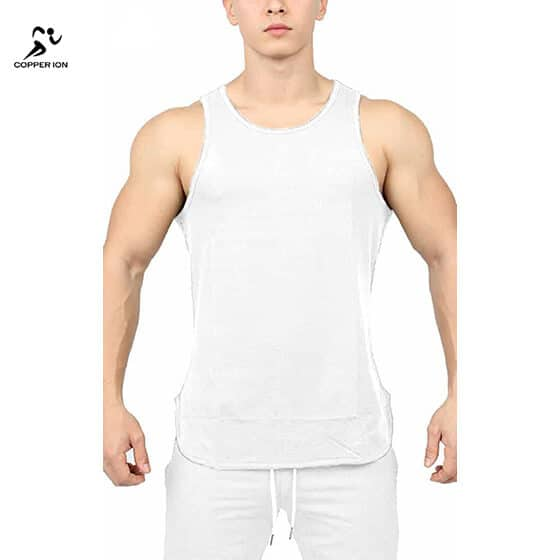 copper infused tank top mens white