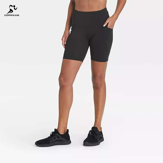 copper infused womens yoga shorts