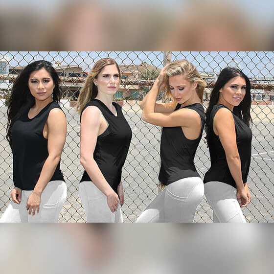 group of women black copper infused tank tops