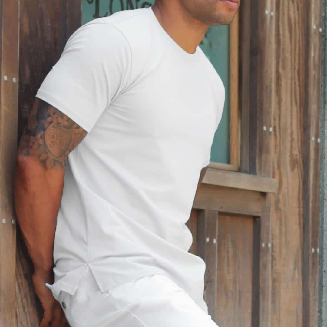 white copper fabric workout shirt