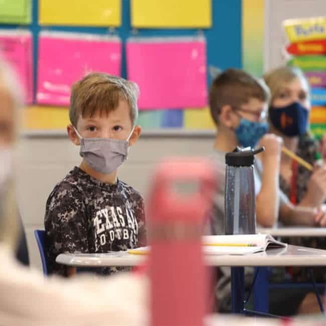 Kids Wearing Face Mask in School